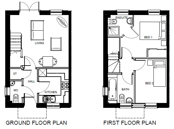 Bangor 2 Bed Floor Plan