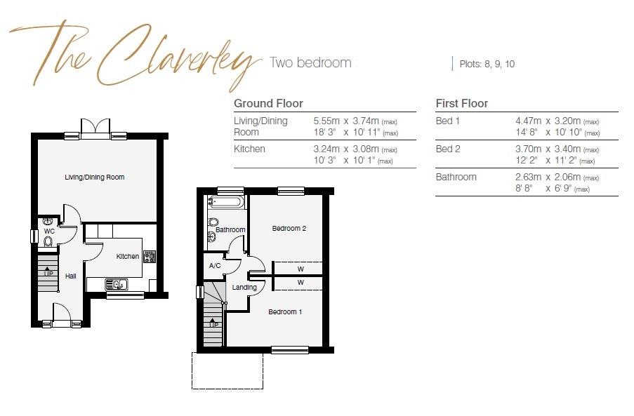 Claverley 2 Bed Floor Plan