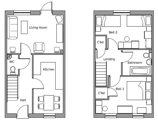 Little Moor 2 Bed Mid Terrace Floor Plan