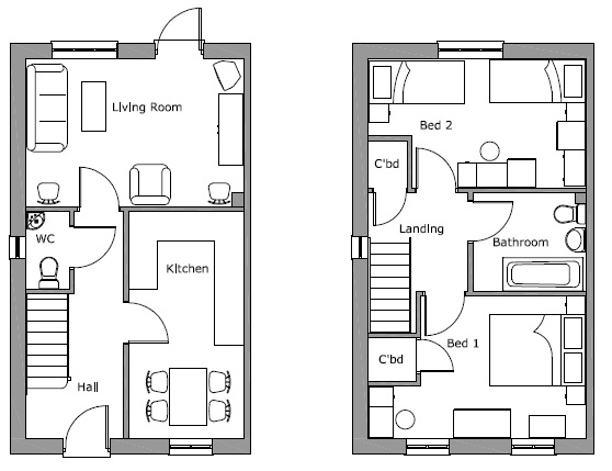Little Moor Hill 2 Bed Et No Bay Floor Plan