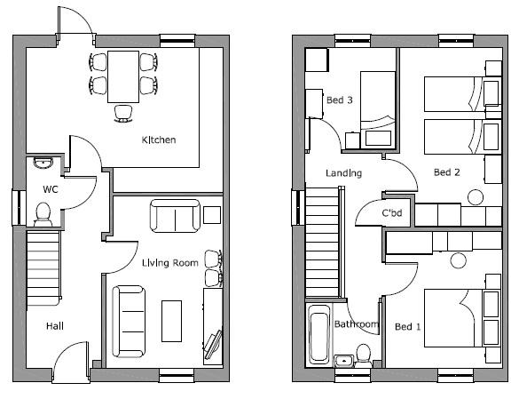 Little Moor Hill 3 Bed Semi Floor Plan